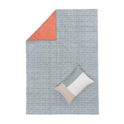 Avola picnic blanket, green grey & natural white & papaya, 100% cotton & 100% polyester