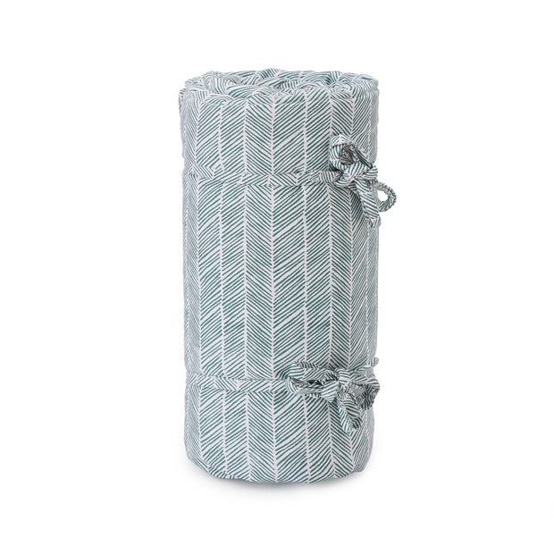 Avola picnic blanket, green grey & natural white & papaya, 100% cotton & 100% polyester | URBANARA picnic blankets