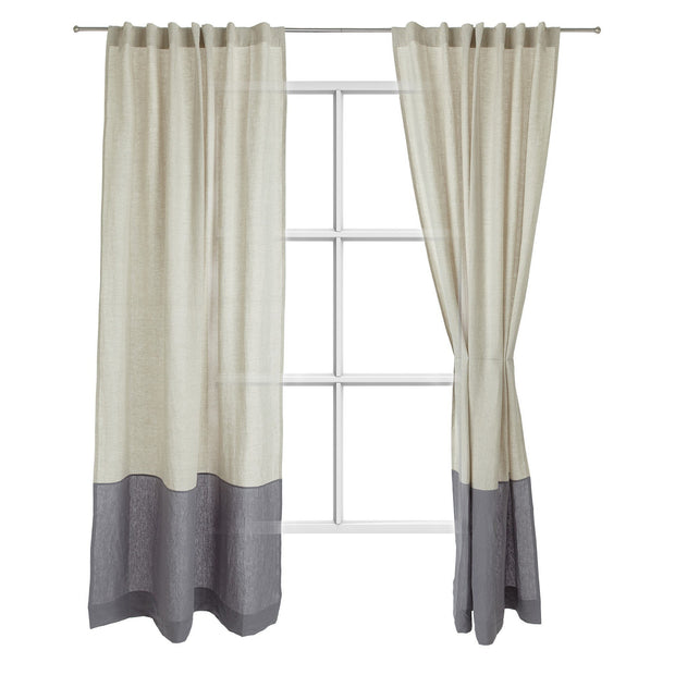 Cataya curtain, natural & charcoal, 100% linen