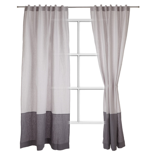 Cataya curtain, light grey & charcoal, 100% linen
