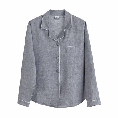 Casaal Pyjama Shirt in dark grey blue & white | Home & Living inspiration | URBANARA
