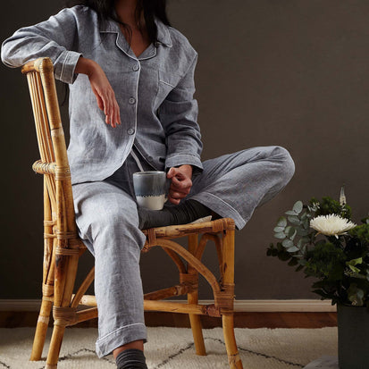 Casaal Pyjama Shirt dark grey blue & white, 100% linen & 100% cotton