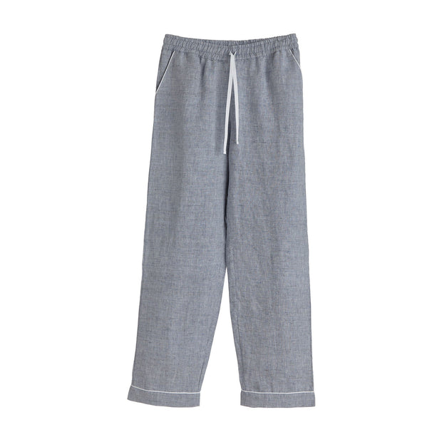 Casaal Pyjama Bottoms dark grey blue & white, 100% linen & 100% cotton | URBANARA nightwear