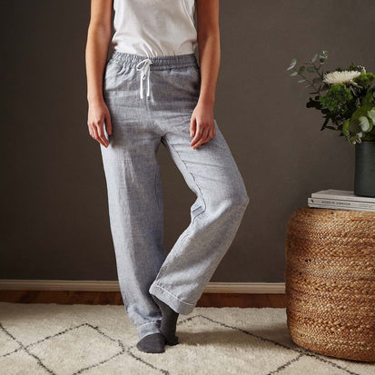 Casaal Pyjama Bottoms dark grey blue & white, 100% linen & 100% cotton
