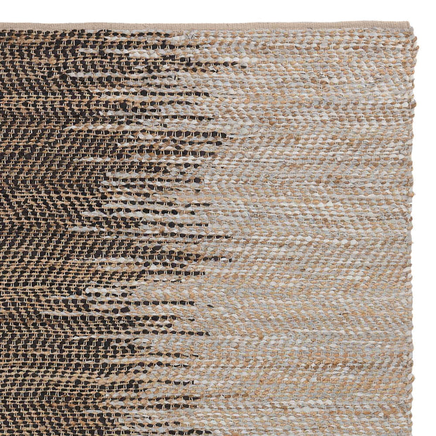 Daugai rug, white & black & natural, 60% jute & 30% leather & 10% cotton