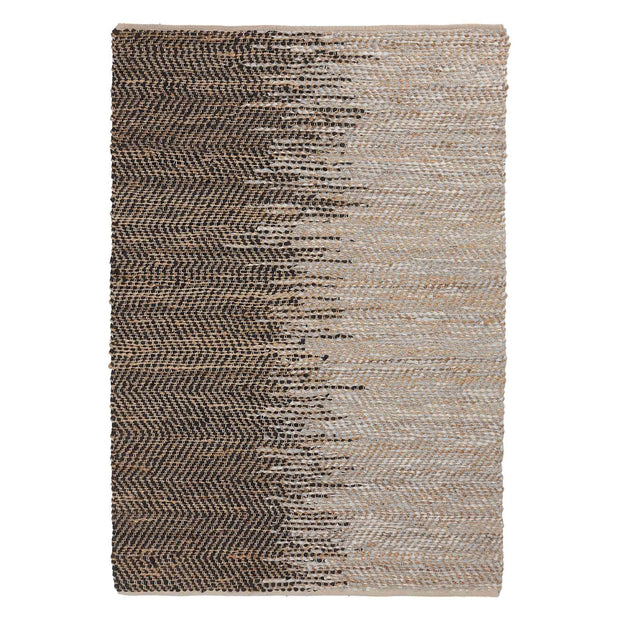 Daugai rug, white & black & natural, 60% jute & 30% leather & 10% cotton | URBANARA jute rugs