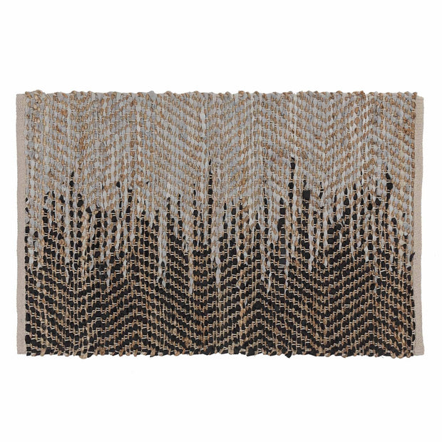 Daugai doormat, white & black & natural, 60% jute & 30% leather & 10% cotton