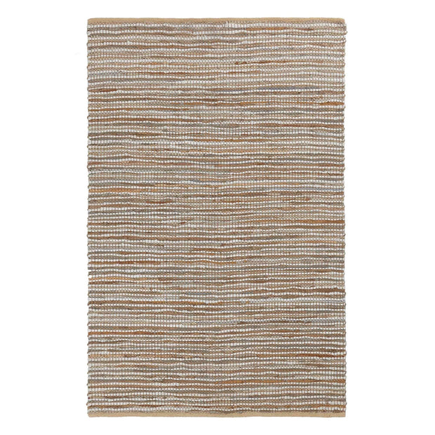 Metz rug, warm brown & natural, 20% jute & 20% leather & 60% cotton | URBANARA jute rugs