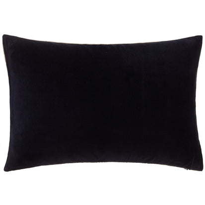 Amreli cushion cover, dark blue & natural, 100% cotton & 100% linen