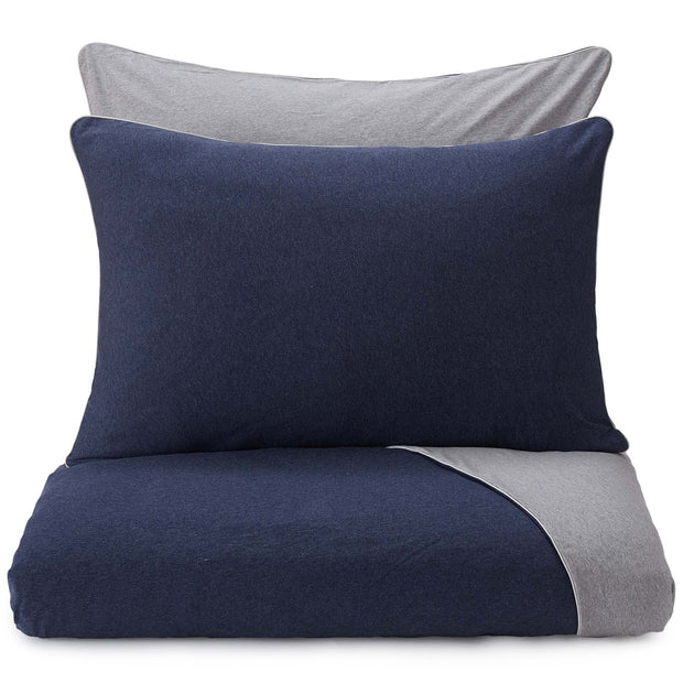 Coria duvet cover, darkblue melange & grey melange & grey, 100% cotton
