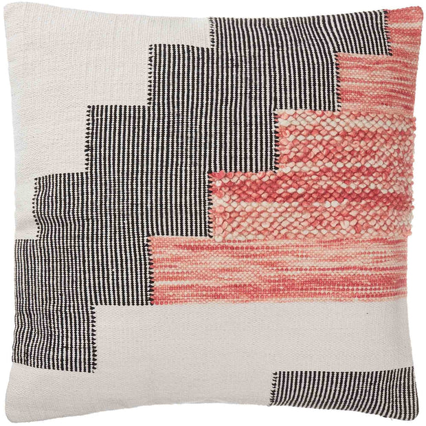 Bahadri cushion cover, natural white & black & papaya, 30% wool & 70% cotton