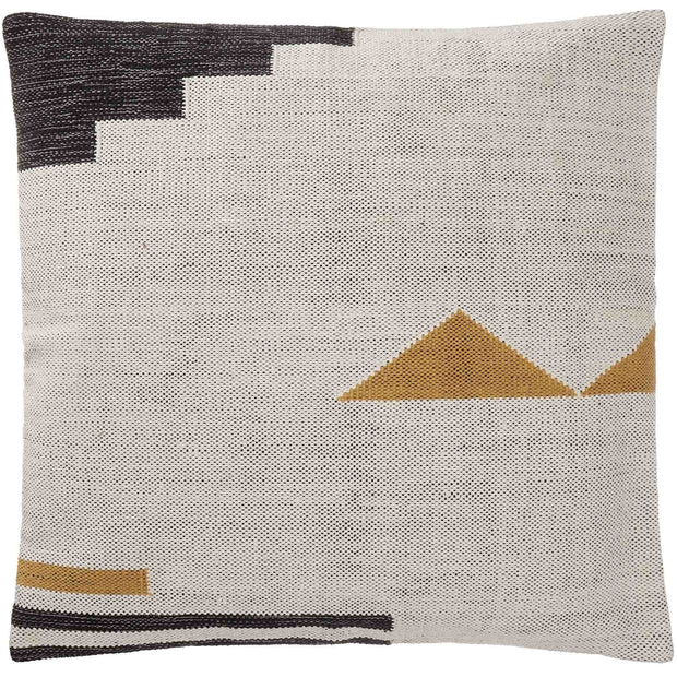Raipuri cushion cover, natural white & mustard & black, 100% cotton