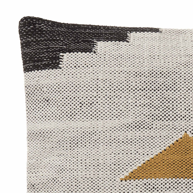 Raipuri cushion cover, natural white & mustard & black, 100% cotton | URBANARA cushion covers