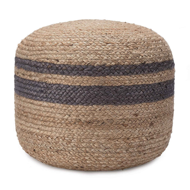 Silani pouf, natural & charcoal, 90% jute & 10% cotton