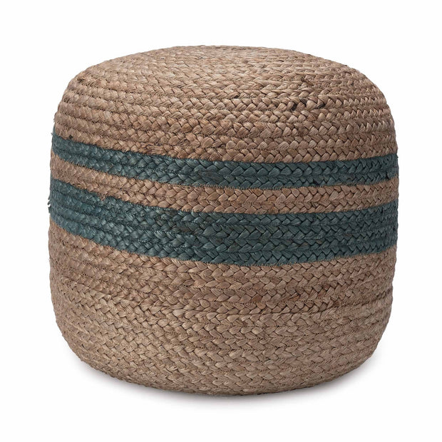 Silani pouf, natural & grey green, 90% jute & 10% cotton