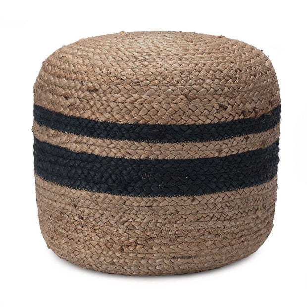 Silani pouf, natural & blue, 90% jute & 10% cotton