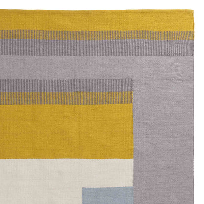 Indari rug, grey & ice blue & bright mustard, 100% pet