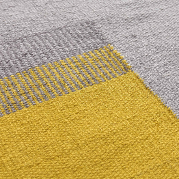 Indari rug, grey & ice blue & bright mustard, 100% pet | URBANARA outdoor accessories