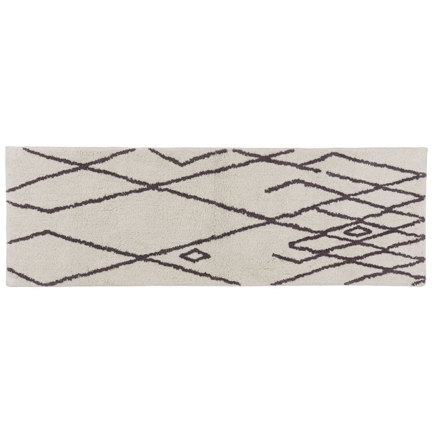 Zerdali bath mat, natural white & dark grey, 100% cotton | URBANARA bath mats