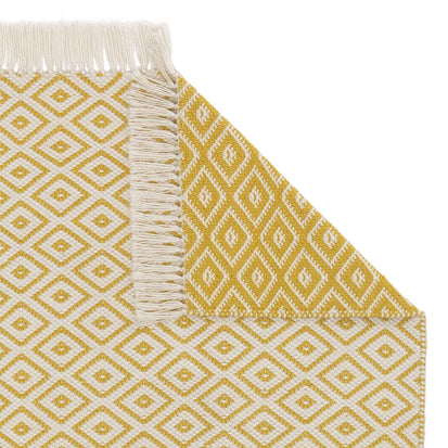 Barota runner, bright mustard & white, 100% pet