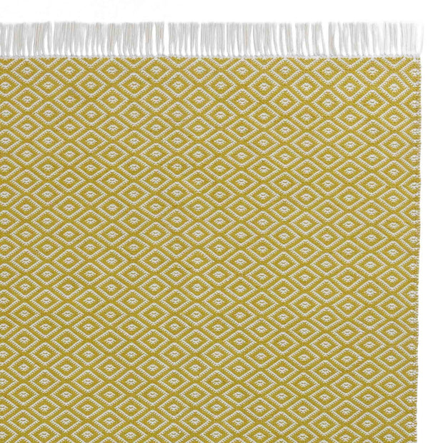 Barota Outdoor Rug bright mustard & white, 100% pet | URBANARA outdoor accessories