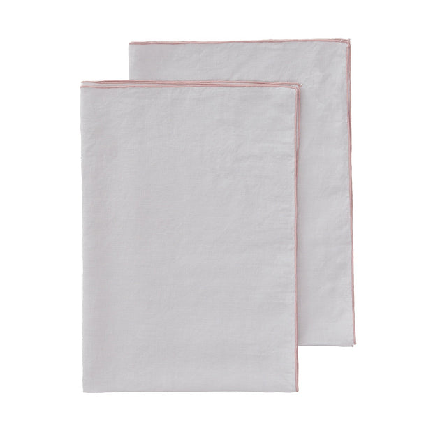 Alvalade tea towel, light grey & powder pink, 100% linen