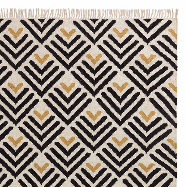 Caen rug, black & bright mustard & natural white, 90% wool & 10% cotton