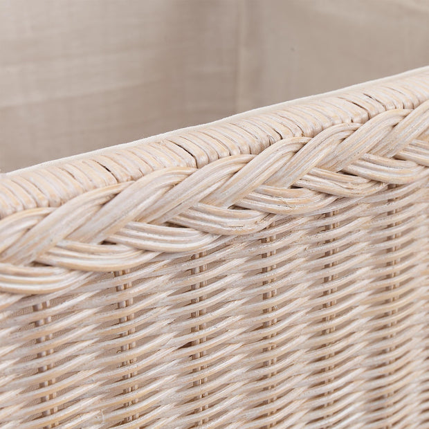 Java laundry basket, chalk white, 100% rattan |High quality homewares