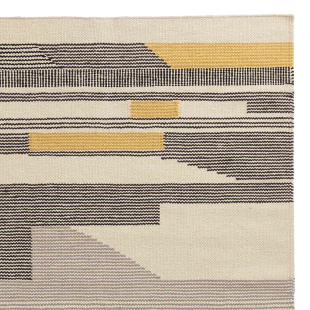 Kovalam rug, black & bright mustard & natural white, 90% wool & 10% cotton