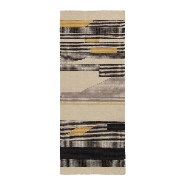 Kovalam runner, black & bright mustard & natural white, 90% wool & 10% cotton |High quality homewares