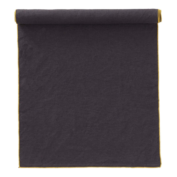 Alvalade table runner, dark grey & bright mustard, 100% linen