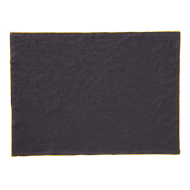 Alvalade table runner, dark grey & bright mustard, 100% linen |High quality homewares