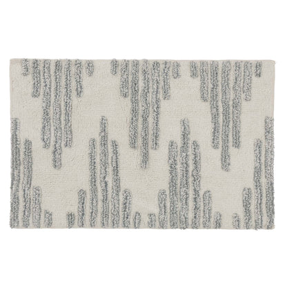 Eskil bath mat, natural white & light green grey, 100% cotton