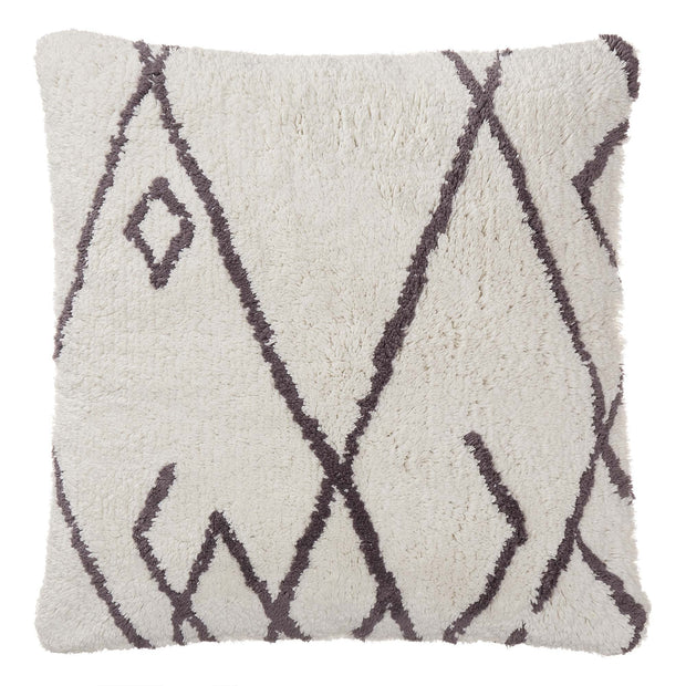 Keelam cushion cover, natural white & dark grey, 100% cotton