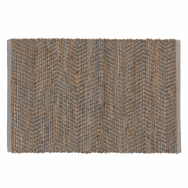 Nattika doormat, grey & natural, 45% leather & 45% jute & 10% cotton