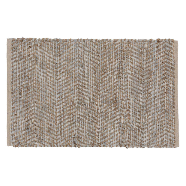 Nattika doormat, white & natural, 45% leather & 45% jute & 10% cotton