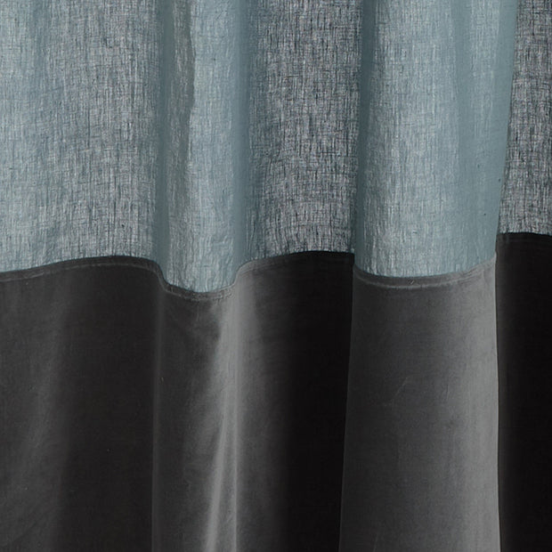 Saveli curtain, light green grey & green grey, 100% linen & 100% cotton | URBANARA curtains