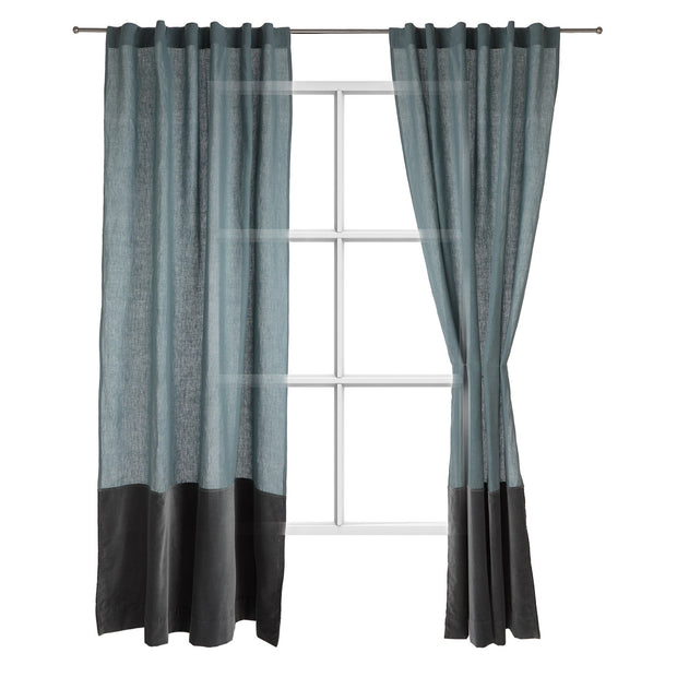 Saveli curtain, light green grey & green grey, 100% linen & 100% cotton
