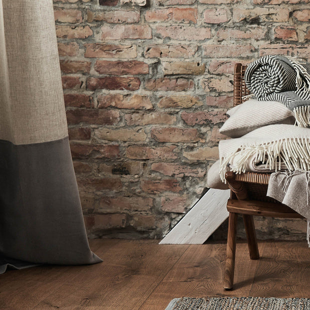 Saveli Curtain natural & grey, 100% linen & 100% cotton | High quality homewares