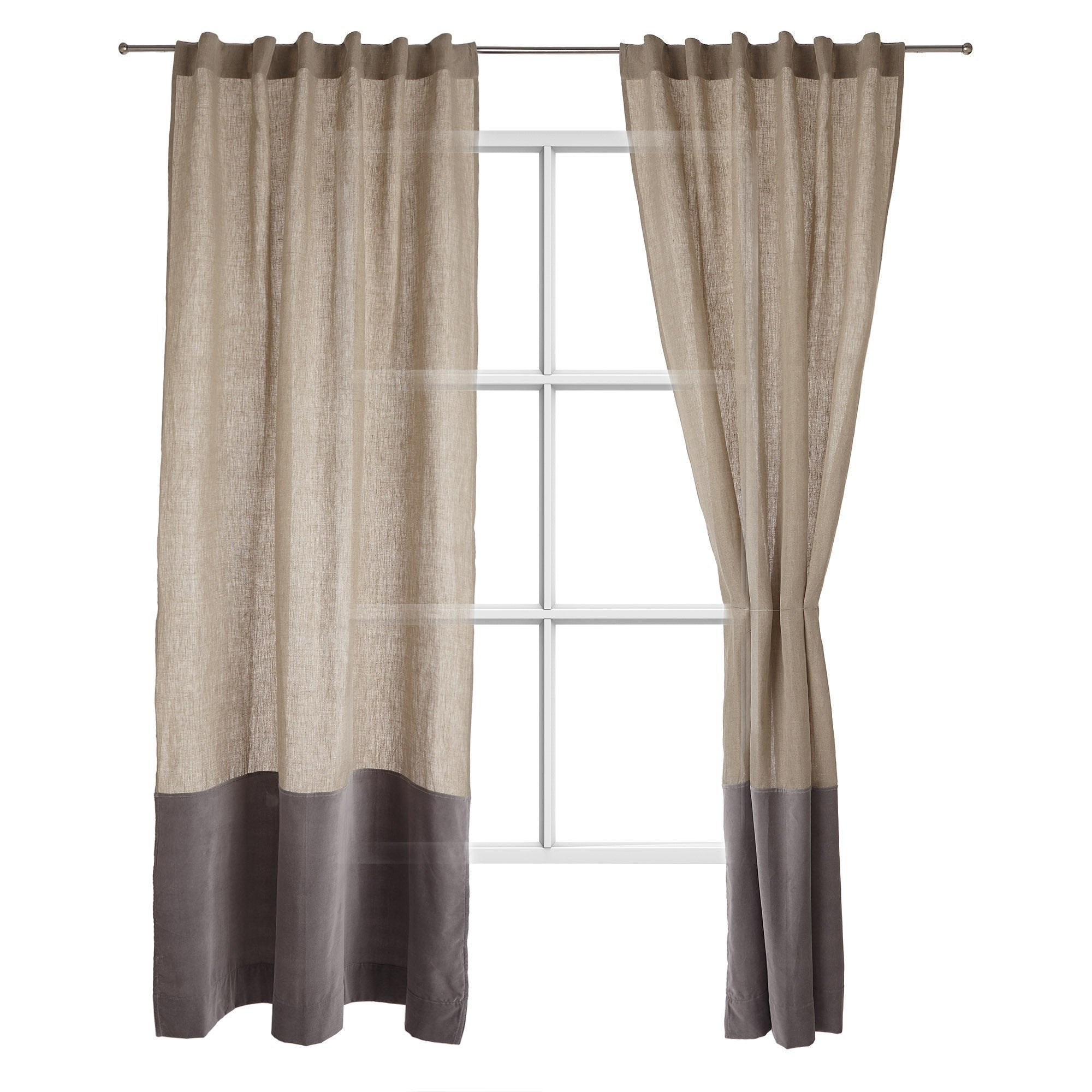 Saveli Curtain natural & grey, 100% linen & 100% cotton