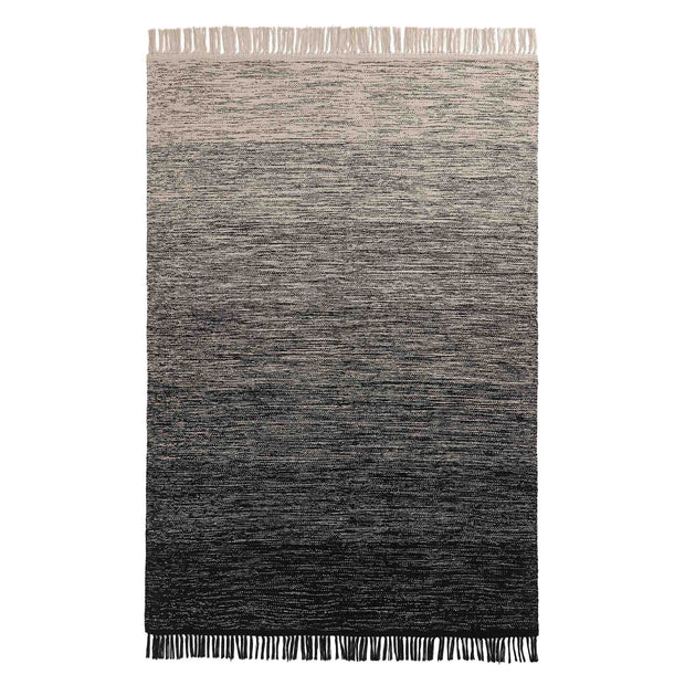 Ziller rug, black & natural white, 100% cotton | URBANARA cotton rugs