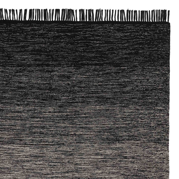 Ziller rug, black & natural white, 100% cotton