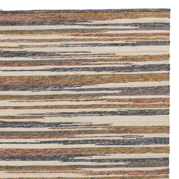 Colmar rug, mustard & cognac & dark blue, 100% new zealand wool