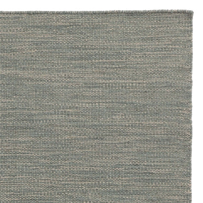 Gravlev runner, green grey & light green grey & natural white, 50% new wool & 50% cotton