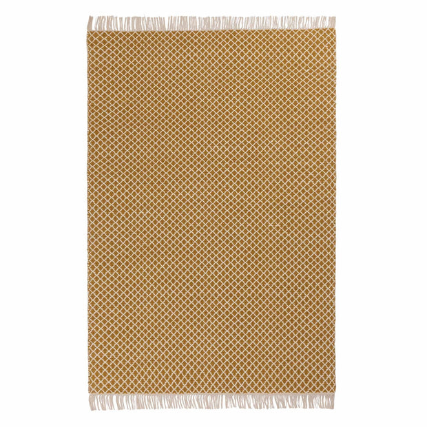 Loni rug, bright mustard & off-white, 100% wool |High quality homewares