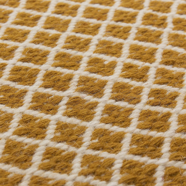 Loni rug in bright mustard & off-white, 100% wool |Find the perfect wool rugs