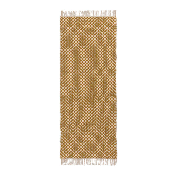 Loni runner, bright mustard & off-white, 100% wool |High quality homewares
