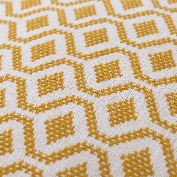 Viana cushion cover, mustard & white, 100% cotton | URBANARA cushion covers