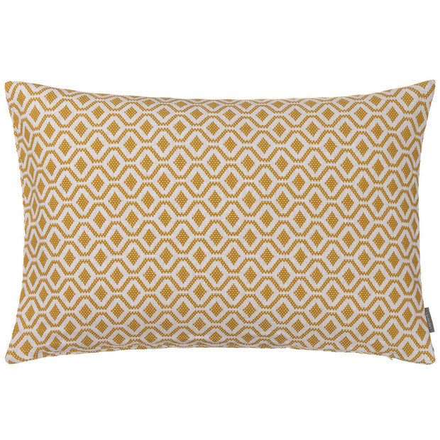 Viana cushion cover, mustard & white, 100% cotton