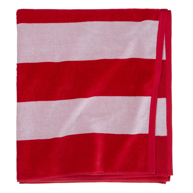 Serena beach towel, red & white, 100% cotton | URBANARA beach towels